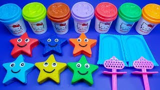 Making 3 Ice Cream out of 6 Play Doh Cute Stars | PJ Masks Surprise Egg