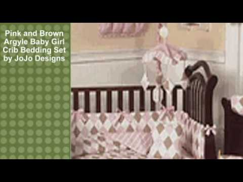 0 Pink and Brown Argyle Baby Girl Crib Bedding Set by JoJo Des