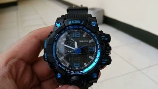 SKMEI AD1155 Black Blue Chrome Watch Water Resistant 30m
