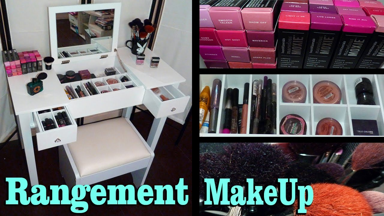 rangement maquillage nouvelle coiffeuse youtube. Black Bedroom Furniture Sets. Home Design Ideas