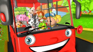 Wheels on the Bus Go Round and Round | Red Bus | English Nursery Rhyme with Lyrics
