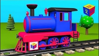 Trains for kids: steam locomotive. Construction recreation academic caricature for toddlers