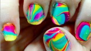 Tie Dye Your Nails! (water marbling) ♡ Theeasydiy #Nailart