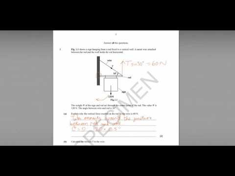 Q1 OCR Depth in Physics specimen paper (moments)