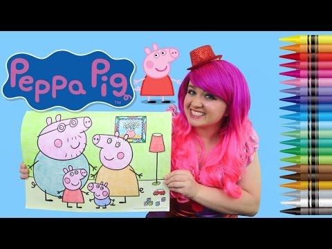 Coloring Peppa Pig JUMBO Coloring Page Crayola Crayons | COLORING WITH KiMMi THE CLOWN