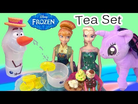Disney Olaf's Summer Tea Set Water Play Playset Frozen Fever Queen Elsa Princess Anna Party Dolls video