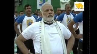 Prime Minister Narendra Modi doing Yoga on Yoga Day 2016