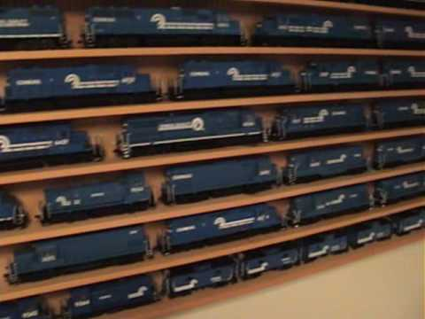 Conrail Locomotives on display in my basement. There are 57 locomotives & 7 cabooses on that shelf! This is the list of most of the models on the shelf..... ...