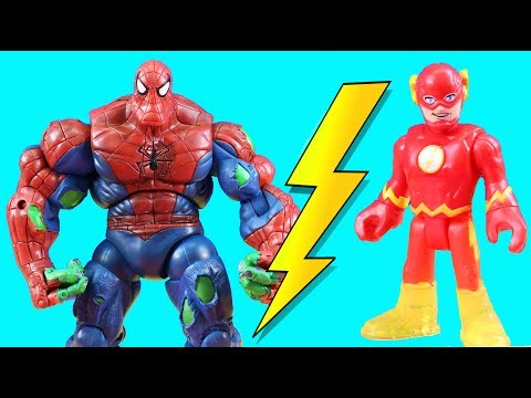 Imaginext Flash Speedster Battles Ultimate Ultron For Speed +  New Spider Hulk Spider-Man Toy