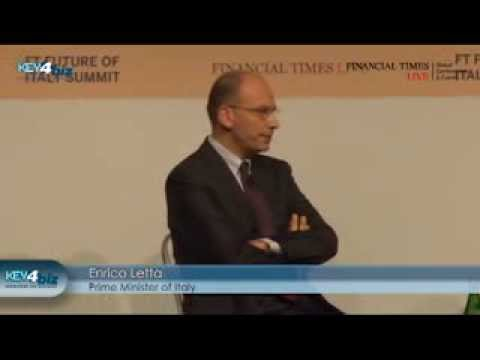 Enrico Letta (Italy Prime Minister) interviewed by John Thornhill (Financial Times) at #FTItaly 2013