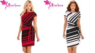 Best Dress For Women Fashion Review | Autumn Pencil Red/Black/Navy White Stripe Dress