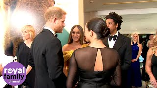 'We Love You Guys': Beyoncé Tells Duke and Duchess of Sussex at Lion King Premiere