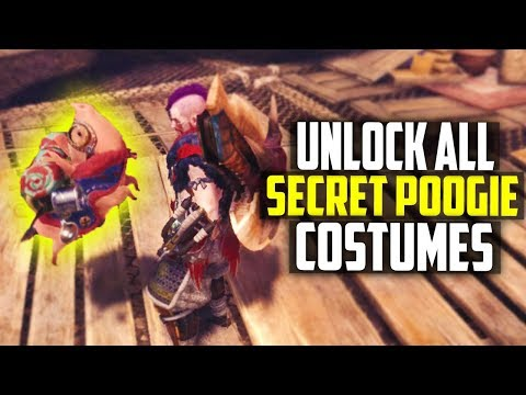 HOW TO UNLOCK ALL THE SECRET POOGIE COSTUMES! PIMP YOUR PIG! Monster Hunter World Tips