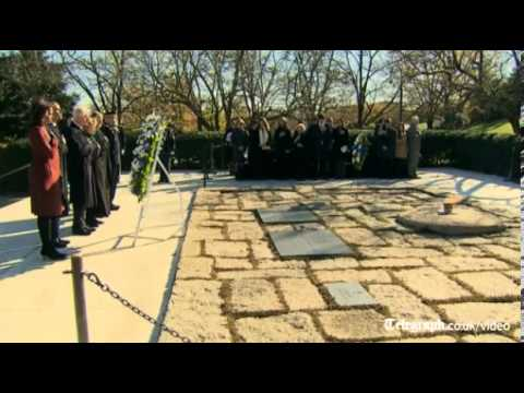 Obama and Clinton lay wreath at JFK's grave
