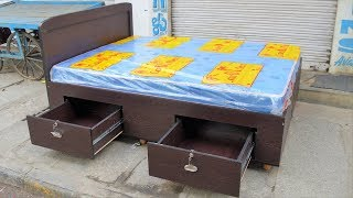 King and Queen size beds with storage box drawers type beds in Popular Furnitures YPR Bengaluru