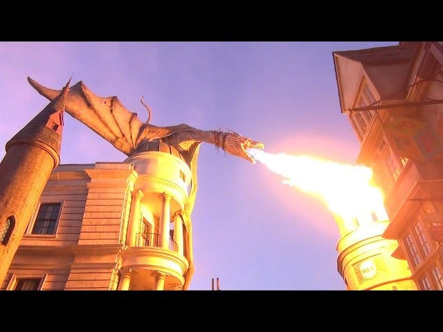 Diagon Alley Gringotts Dragon Breathes Fire Day into Night + Fireworks, Wizarding World Harry Potter