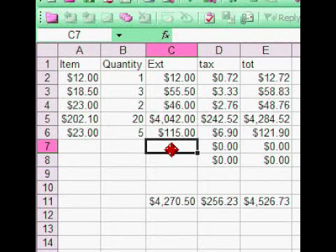 Excel Spread Sheet Basics - Using a Formula