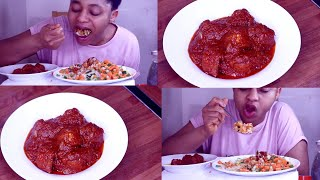 Mukbang | Nigerian Food | Tasty Nigerian Vegetarian No Meat Stew With White Rice And Vegetable