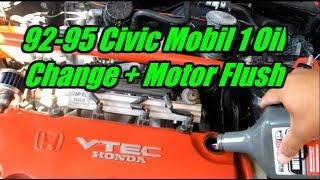 1994 Honda Civic EX 1.6L Mobil 1 Oil Change Tutorial + Motor Flush