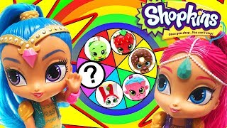 Spin the Wheel Game with Shimmer and Shine! Starring LOL Doll Sugar Queen and Shopkins Kooky Cookie!