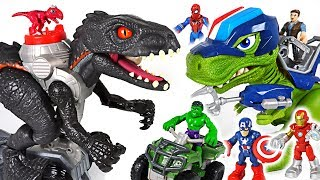 Jurassic World walking Indoraptor appeared! Marvel Avengers Hulk, Police dinosaur! Go!- DuDuPopTOY
