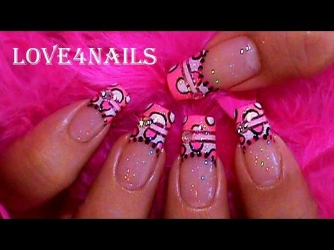 Pink & Black Polka Dots Nail Art Design Tutorial