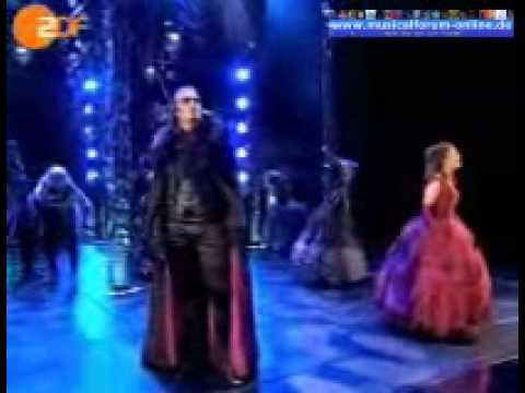 Performanse of Totale Finsternis of the Musical Tanz der Vampire. Starring Thomas Borchert as Graf von Krolock and Jessica Kessler as Sarah.