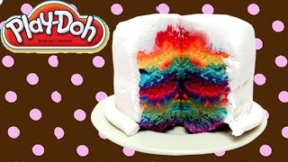HOW TO MAKE A RAINBOW CAKE PLAY DOH CAKE PLAY DOH RAINBOW CAKE PLAY DOUGH BIRTHDAY CAKE