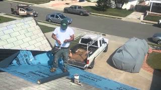 ASPHALT SHINGLES  Roofing- HOW TO VIDEO: Laying a second layer over existing shingles roof.