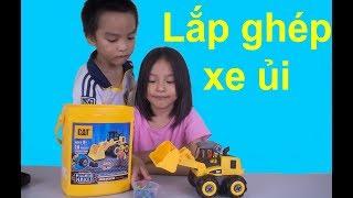 Đồ chơi ô tô máy ủi, máy xúc lắp ghép cho trẻ em Bulldozer toy oggy show vn
