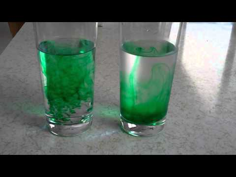 Comparison of diffusion of food coloring in warm and cold tap water
