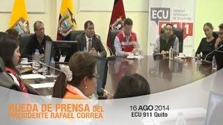 Rueda de prensa del Presidente Rafael Correa acerca de los sismos en la ciudad de Quito