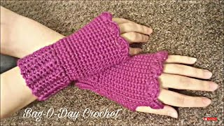 CROCHET How to #Crochet Fingerless gloves Wristers #TUTORIAL #155 LEARN CROCHET