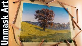 Beautiful Fall Landscape | Colored Pencil Drawing Time Lapse