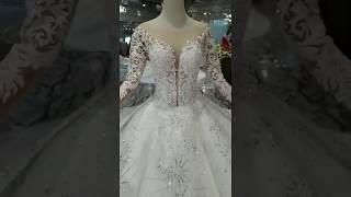 Muslim O-neck long sleeves feather wedding gown 2019 HTL202 - Suzhou Love Season Wedding Dress