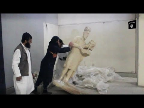 IS jihadists shown destroying artefacts in Iraq's Mosul