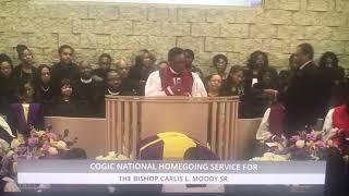 Bishop Thuston at Bishop Carlis Moody's Sr. Homegoing Clip 1- 1/18/19