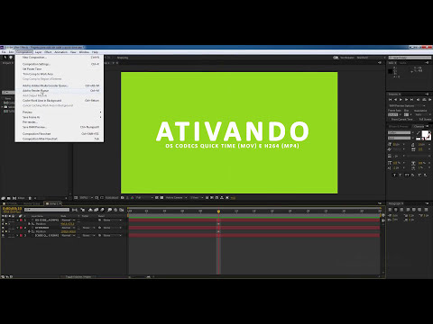 Tutorial como ativar os Formatos Quick time e H.264 no After Effects?