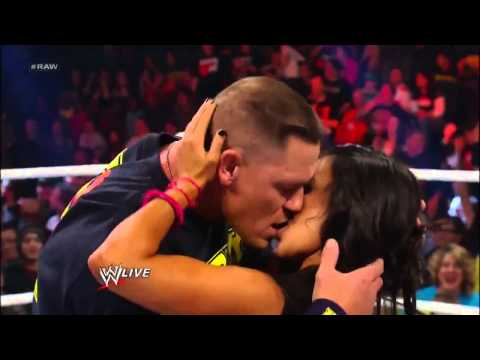 John Cena and AJ Lee Kiss - WWE Raw 11/19/12.