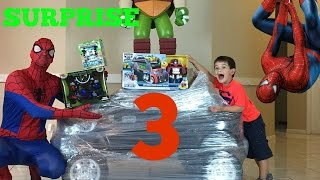 BIG SPIDERMAN PRESENT 3 SPIDERMAN FOR KIDS SURPRISE TOYS and video for kids + open toys