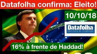 1ª Pesquisa Datafolha: BOLSONARO será ELEITO PRESIDENTE do Brasil com muita vantagem!!!