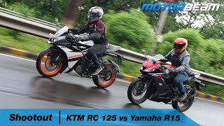 KTM RC 125 vs Yamaha R15 V3 - Best Small Sport Bike? | MotorBeam