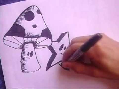 como dibujar un caracter graffiti paso a paso hongo y estrella