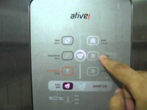 Refrigerador Brastemp Ative! 403 litros Inox BRM48NR. Demonstração do painel.