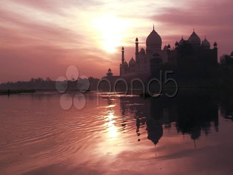 Sun Rise Over The Taj Mahal, Agra India, Asia. Stock Footage