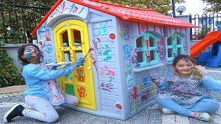Öykü ve Masal Oyun Evini Rengarenk Boyadı - Learn colors Paint PlayHouse  for Funny Kids