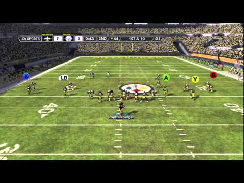 Madden 12 Online Crazy Finish Gameplay (Saints vs Steelers)