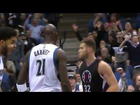 Kevin Garnett POSTERIZES Blake Griffin | Clippers vs Wolves | 12.7.2015