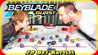 MUST SEE! Beyblade Burst 20 Bey Battle Royal on Air Hockey Table! It's about to get CRAZY in Here!