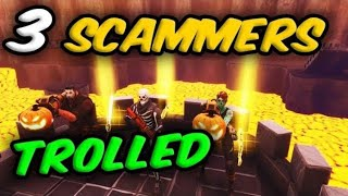 *3 SCAMMERS* Scammed For Whole Inventories *TROLLED* (Scammer Gets Scammed) Fortnite Save The World
